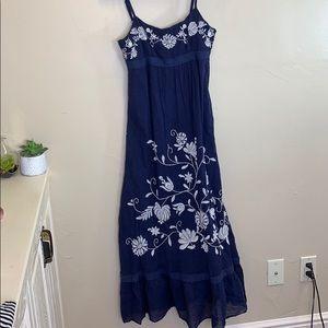 LOFT Embroidered Navy ruffle hem cotton tank dress